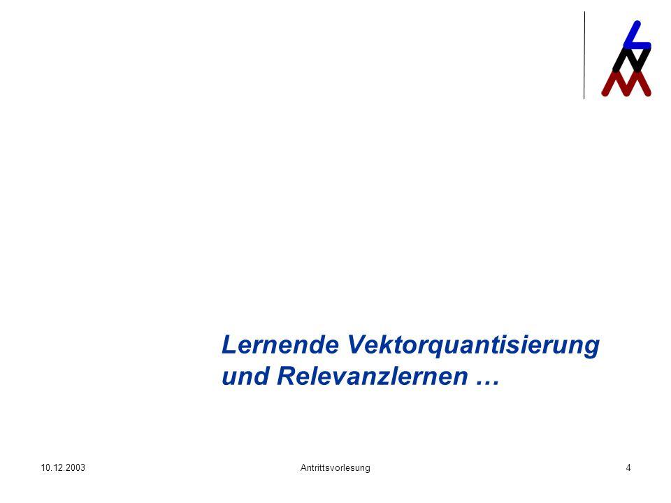 10.12.2003Antrittsvorlesung4 Lernende Vektorquantisierung und Relevanzlernen …