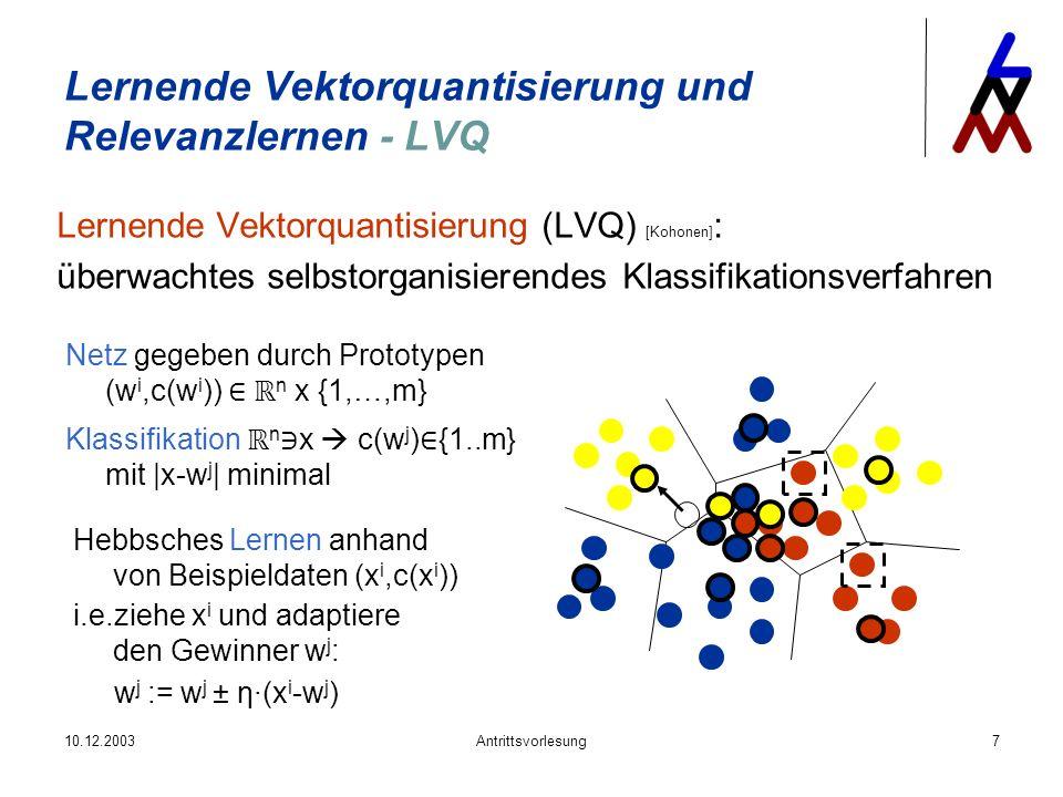 10.12.2003Antrittsvorlesung7 Lernende Vektorquantisierung und Relevanzlernen - LVQ Lernende Vektorquantisierung (LVQ) [Kohonen] : überwachtes selbstor