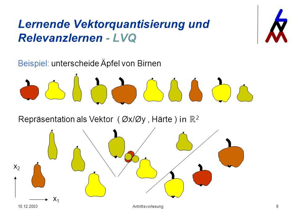 10.12.2003Antrittsvorlesung8 Lernende Vektorquantisierung und Relevanzlernen - LVQ Beispiel: unterscheide Äpfel von Birnen Repräsentation als Vektor (