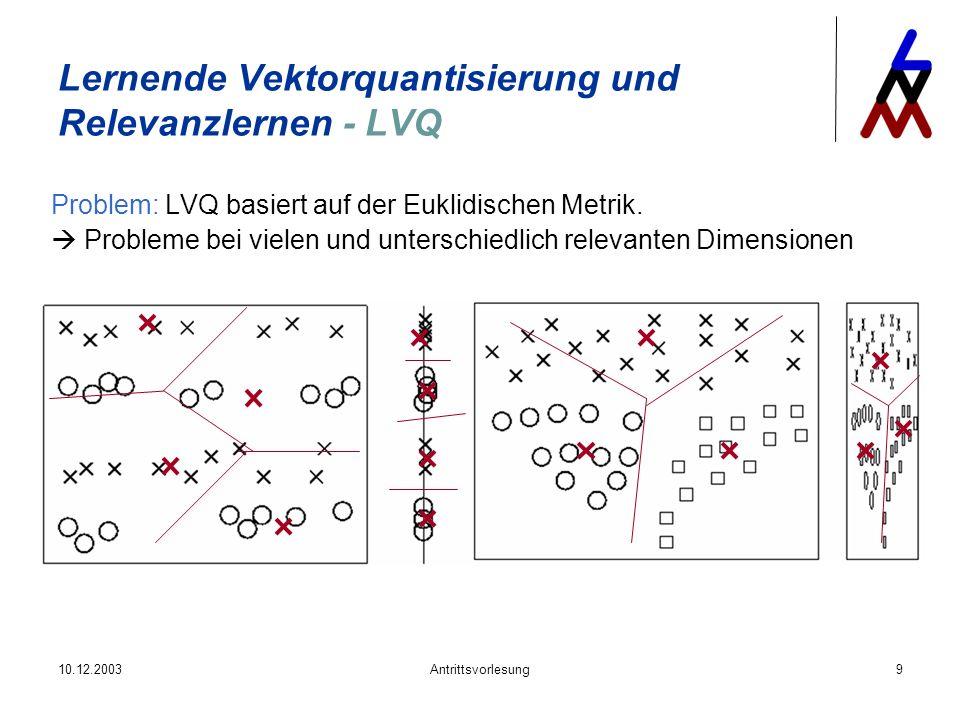 10.12.2003Antrittsvorlesung9 Lernende Vektorquantisierung und Relevanzlernen - LVQ Problem: LVQ basiert auf der Euklidischen Metrik. Probleme bei viel