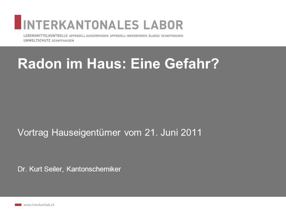 Einzelwerte Höchste Einzelwerte in Schaffhausen (Messungen Winter 2010/2011) 4455 Bq/m 3 2150 Bq/m 3 1710 Bq/m 3 1634 Bq/m 3 1115 Bq/m 3 1015 Bq/m 3 12 Achtung: Grosse Unterschiede von Gebäude zu Gebäude!