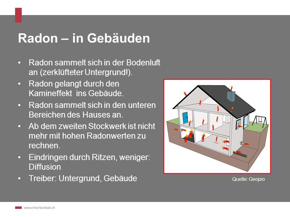 Extrapolation für Stadt Schaffhausen ResultateGebäude in %Anzahl Gebäude (total: 6074 Gebäude) < 200 Bq/m 3 79 %4775 > 200 Bq/m 3 14 %850 > 400 Bq/m 3 6 %395 > 1000 Bq/m 3 1 %55 Basis: 98 Messungen Mittel der Messwerte: 146 Bq/m 3