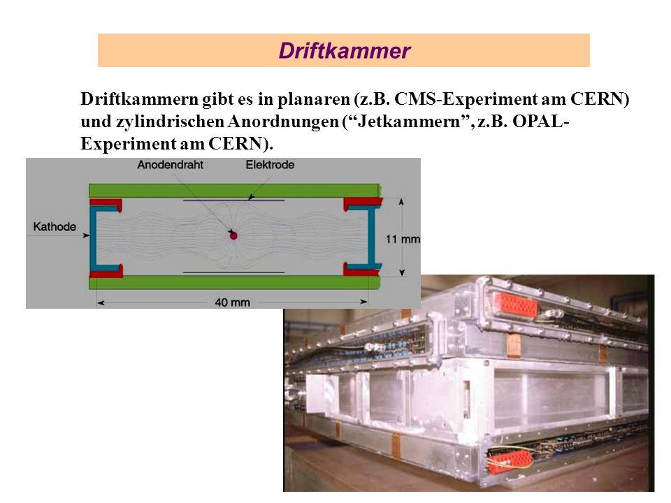 Driftkammer Driftkammern gibt es in planaren (z.B. CMS-Experiment am CERN) und zylindrischen Anordnungen (Jetkammern, z.B. OPAL- Experiment am CERN).