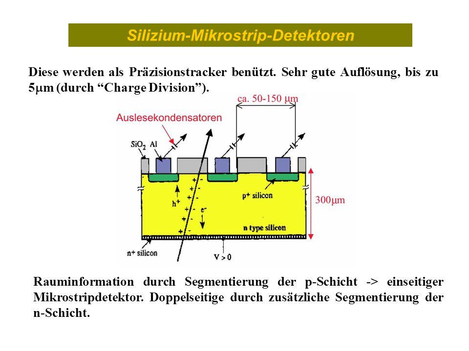 Silizium-Mikrostrip-Detektoren Diese werden als Präzisionstracker benützt. Sehr gute Auflösung, bis zu 5 m (durch Charge Division). Rauminformation du