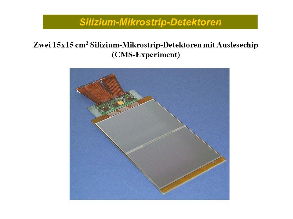 Silizium-Mikrostrip-Detektoren Zwei 15x15 cm 2 Silizium-Mikrostrip-Detektoren mit Auslesechip (CMS-Experiment)