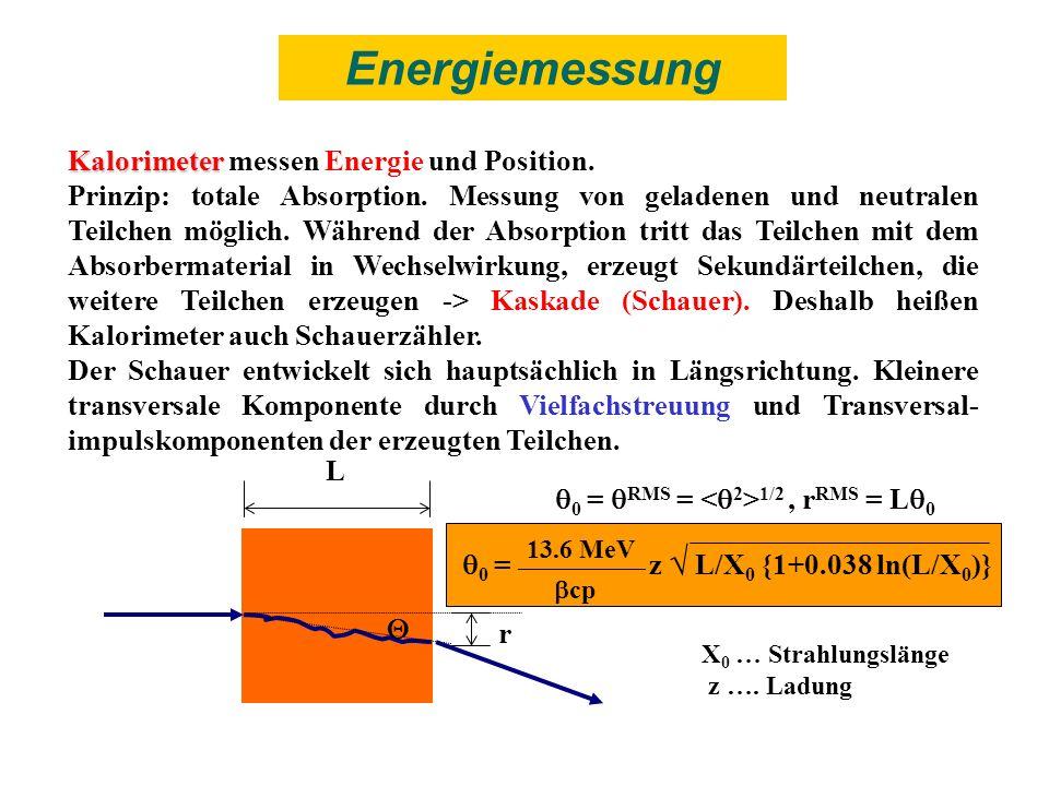 Kalorimeter Kalorimeter messen Energie und Position. Prinzip: totale Absorption. Messung von geladenen und neutralen Teilchen möglich. Während der Abs