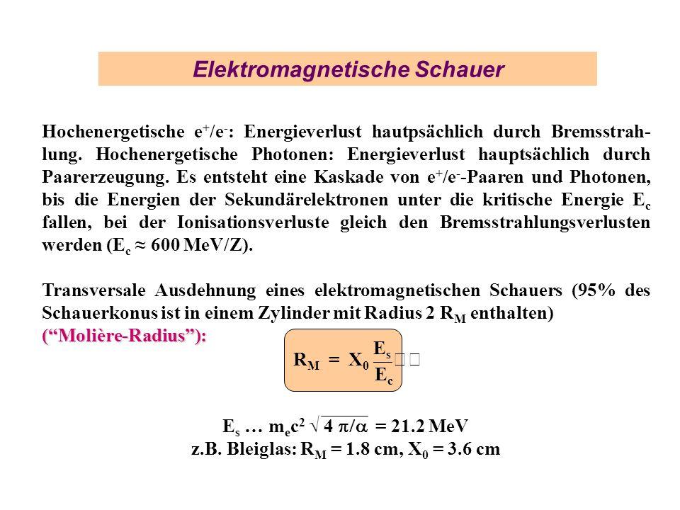 Elektromagnetische Schauer Hochenergetische e + /e - : Energieverlust hautpsächlich durch Bremsstrah- lung. Hochenergetische Photonen: Energieverlust