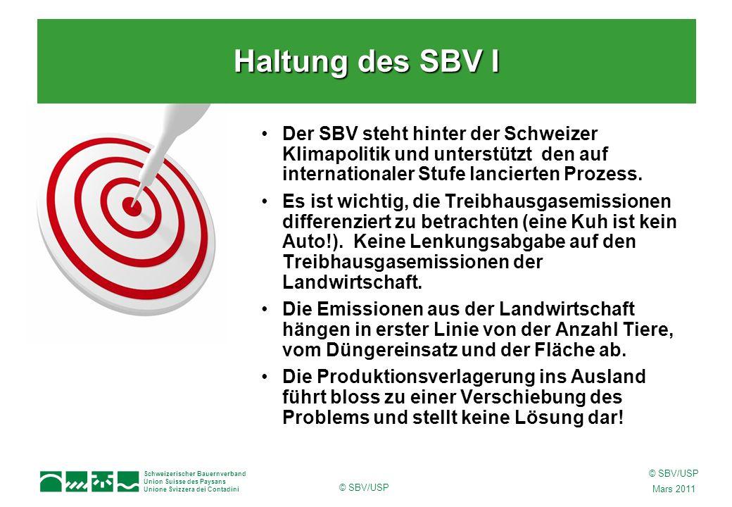 Schweizerischer Bauernverband Union Suisse des Paysans Unione Svizzera dei Contadini © SBV/USP Mars 2011 © SBV/USP Der SBV steht hinter der Schweizer