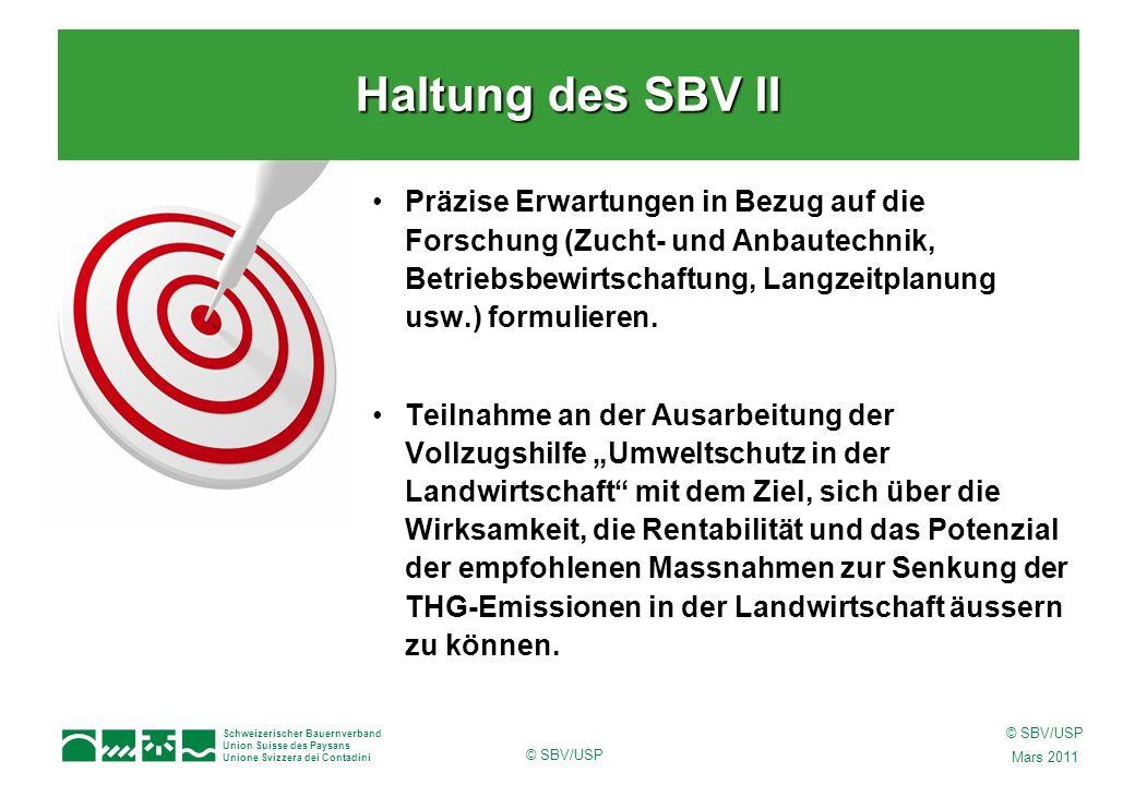 Schweizerischer Bauernverband Union Suisse des Paysans Unione Svizzera dei Contadini © SBV/USP Mars 2011 © SBV/USP Präzise Erwartungen in Bezug auf di
