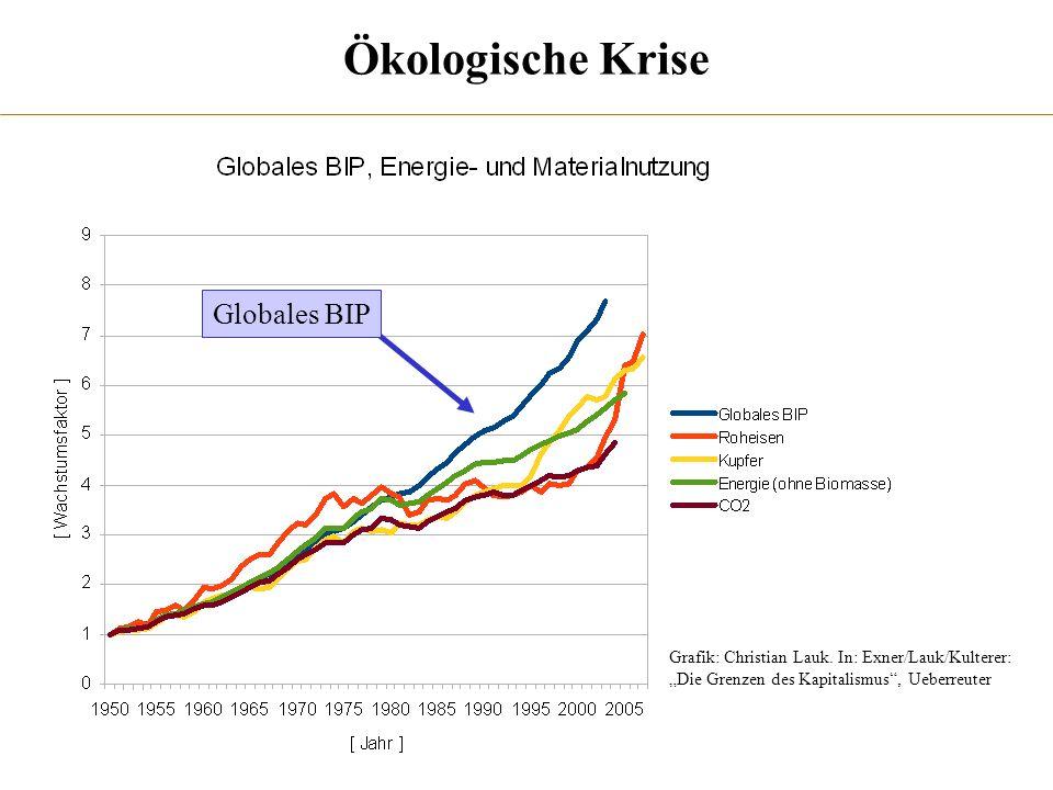Ökologische Krise Grafik: Christian Lauk. In: Exner/Lauk/Kulterer: Die Grenzen des Kapitalismus, Ueberreuter Globales BIP