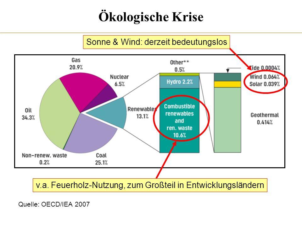 Quelle: OECD/IEA 2007 v.a. Feuerholz-Nutzung, zum Großteil in Entwicklungsländern Sonne & Wind: derzeit bedeutungslos Ökologische Krise