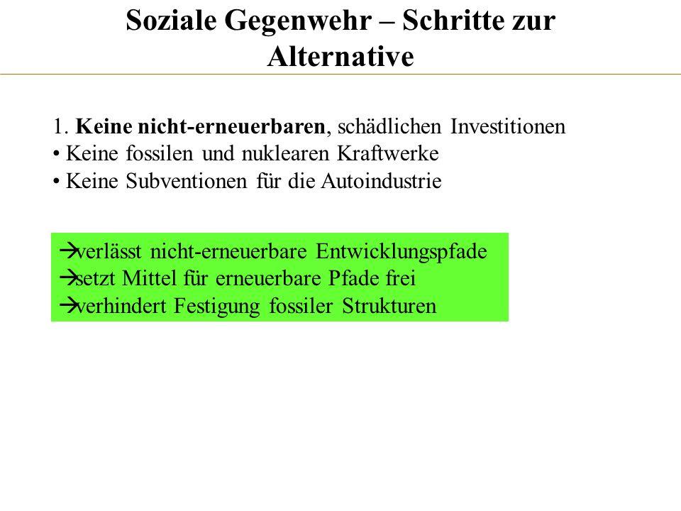 Soziale Gegenwehr – Schritte zur Alternative 1. Keine nicht-erneuerbaren, schädlichen Investitionen Keine fossilen und nuklearen Kraftwerke Keine Subv
