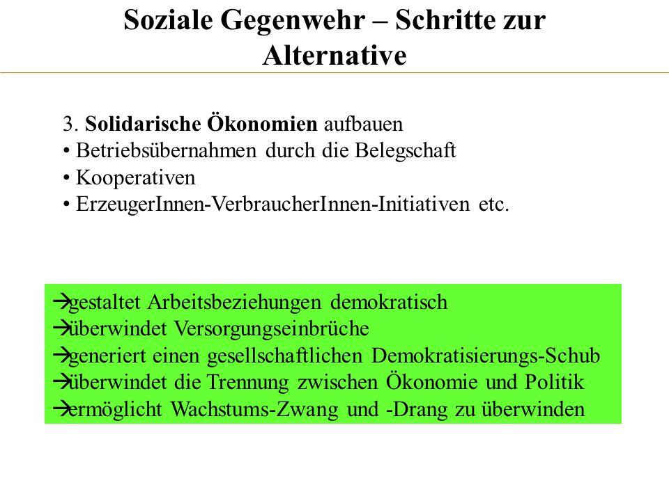 Soziale Gegenwehr – Schritte zur Alternative 3. Solidarische Ökonomien aufbauen Betriebsübernahmen durch die Belegschaft Kooperativen ErzeugerInnen-Ve
