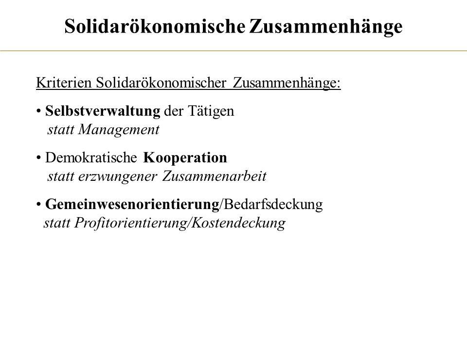 Solidarökonomische Zusammenhänge Kriterien Solidarökonomischer Zusammenhänge: Selbstverwaltung der Tätigen statt Management Demokratische Kooperation