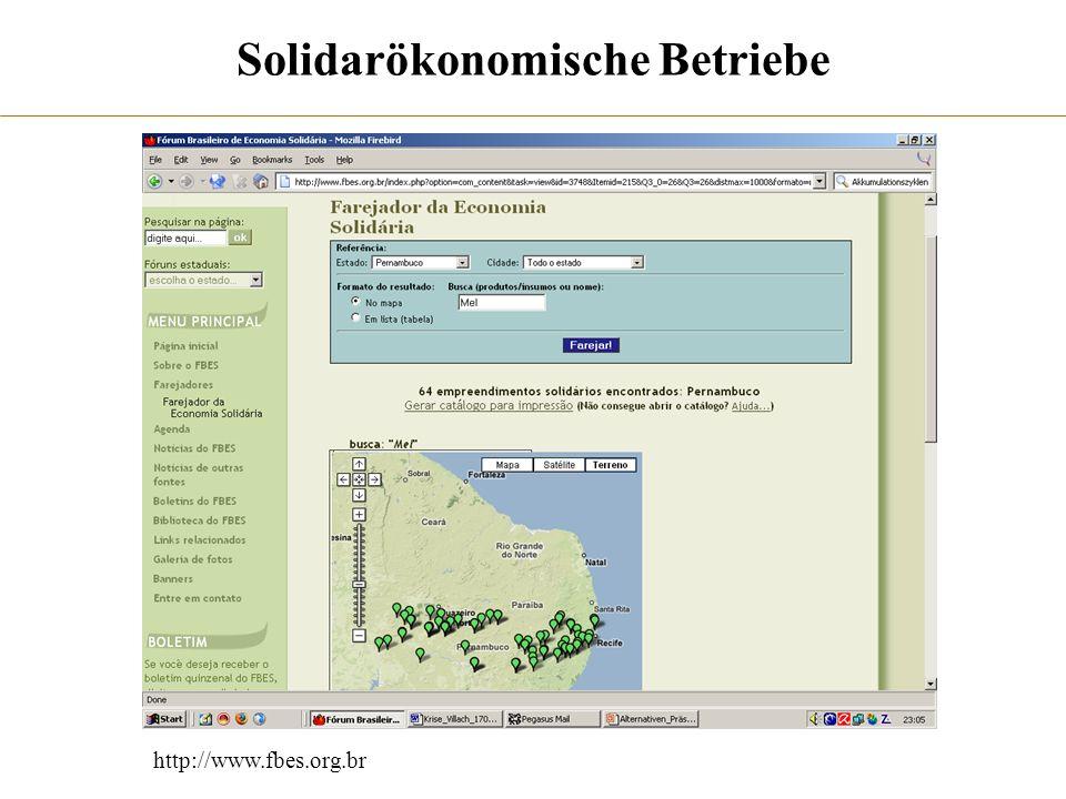 Solidarökonomische Betriebe http://www.fbes.org.br