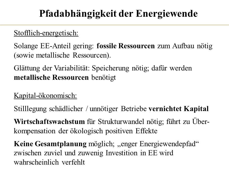 Pfadabhängigkeit der Energiewende Stofflich-energetisch: Solange EE-Anteil gering: fossile Ressourcen zum Aufbau nötig (sowie metallische Ressourcen).