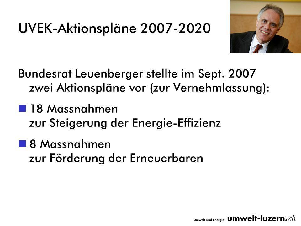 UVEK-Aktionspläne 2007-2020 Bundesrat Leuenberger stellte im Sept.