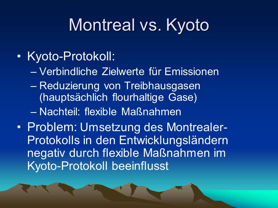 Montreal vs. Kyoto Kyoto-Protokoll: –Verbindliche Zielwerte für Emissionen –Reduzierung von Treibhausgasen (hauptsächlich flourhaltige Gase) –Nachteil