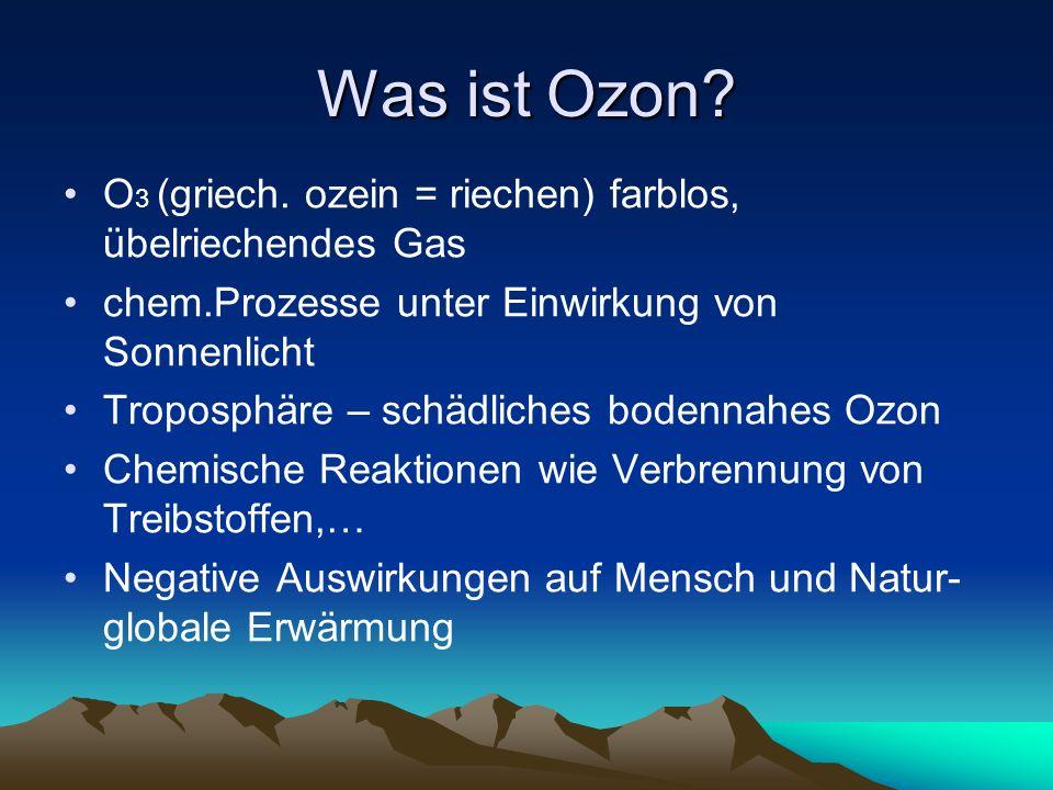 Was ist Ozon? O 3 (griech. ozein = riechen) farblos, übelriechendes Gas chem.Prozesse unter Einwirkung von Sonnenlicht Troposphäre – schädliches boden