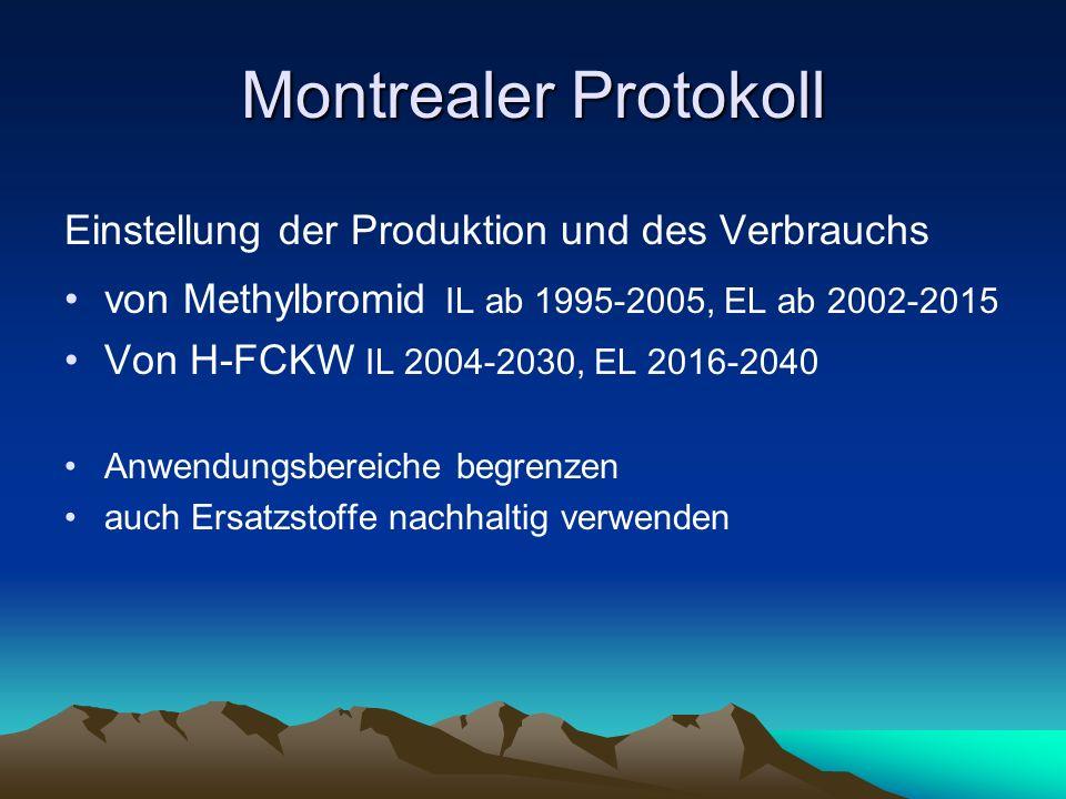 Montrealer Protokoll Einstellung der Produktion und des Verbrauchs von Methylbromid IL ab 1995-2005, EL ab 2002-2015 Von H-FCKW IL 2004-2030, EL 2016-