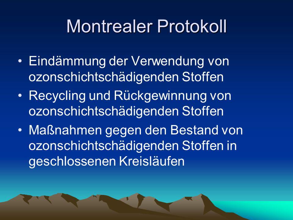 Montrealer Protokoll Eindämmung der Verwendung von ozonschichtschädigenden Stoffen Recycling und Rückgewinnung von ozonschichtschädigenden Stoffen Maß