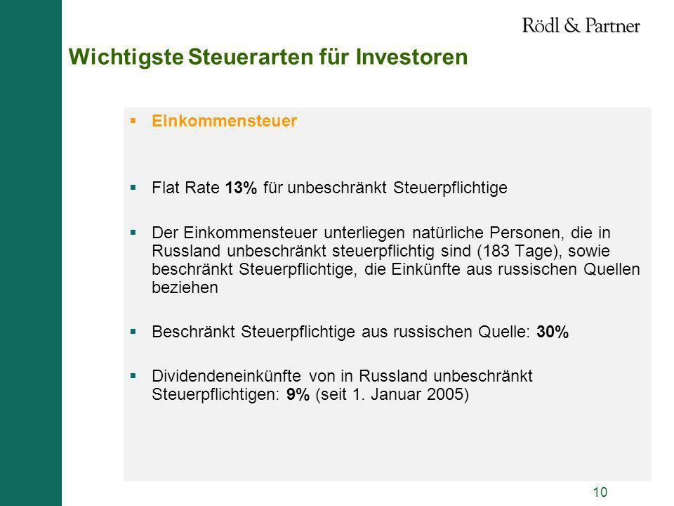 10 Wichtigste Steuerarten für Investoren Einkommensteuer Flat Rate 13% für unbeschränkt Steuerpflichtige Der Einkommensteuer unterliegen natürliche Pe