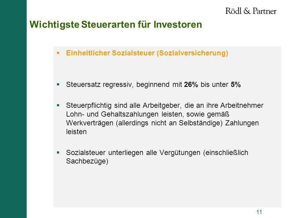 11 Wichtigste Steuerarten für Investoren Einheitlicher Sozialsteuer (Sozialversicherung) Steuersatz regressiv, beginnend mit 26% bis unter 5% Steuerpf
