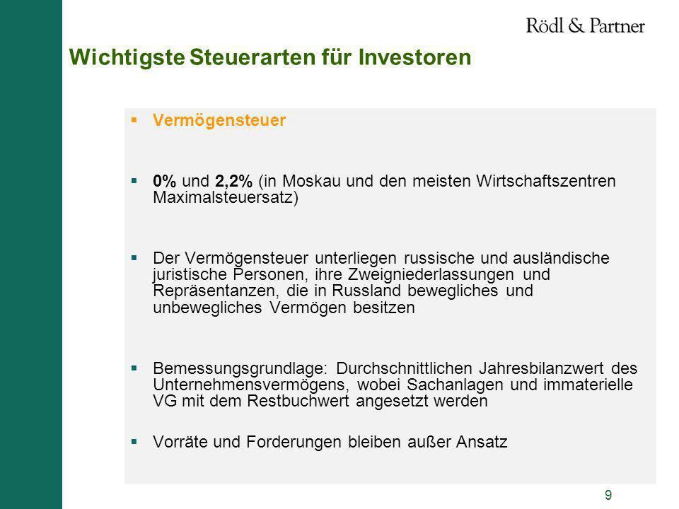 9 Wichtigste Steuerarten für Investoren Vermögensteuer 0% und 2,2% (in Moskau und den meisten Wirtschaftszentren Maximalsteuersatz) Der Vermögensteuer