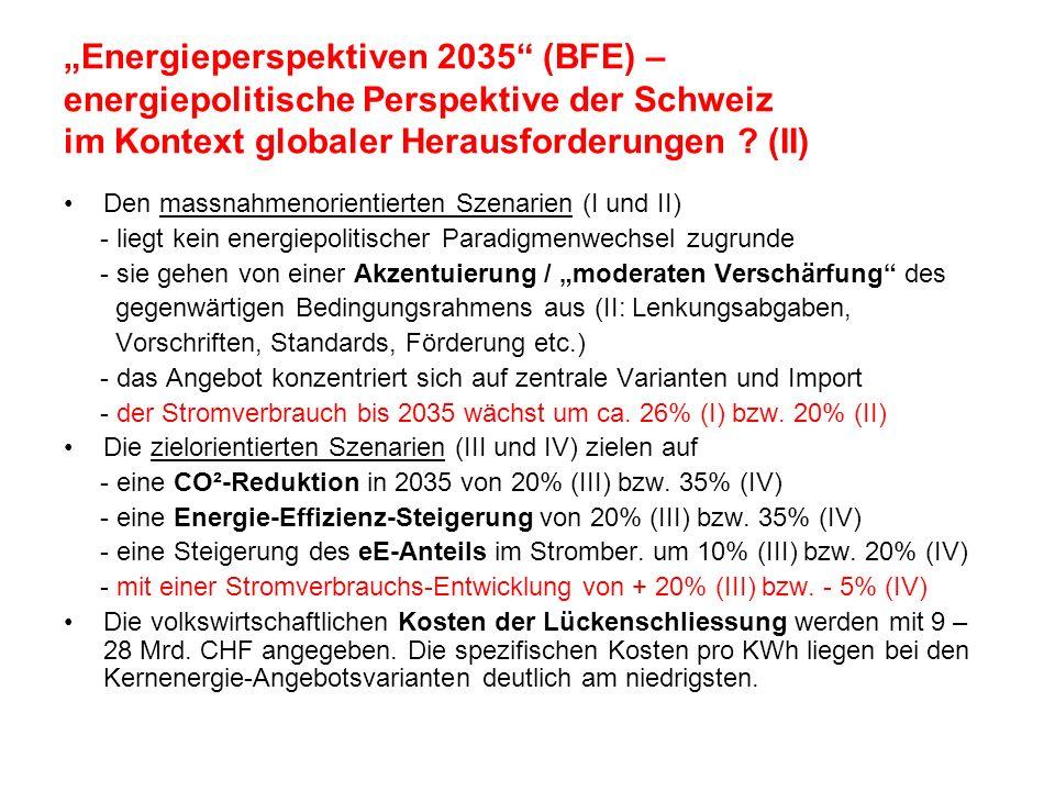 Energieperspektiven 2035 (BFE) – energiepolitische Perspektive der Schweiz im Kontext globaler Herausforderungen ? (II) Den massnahmenorientierten Sze