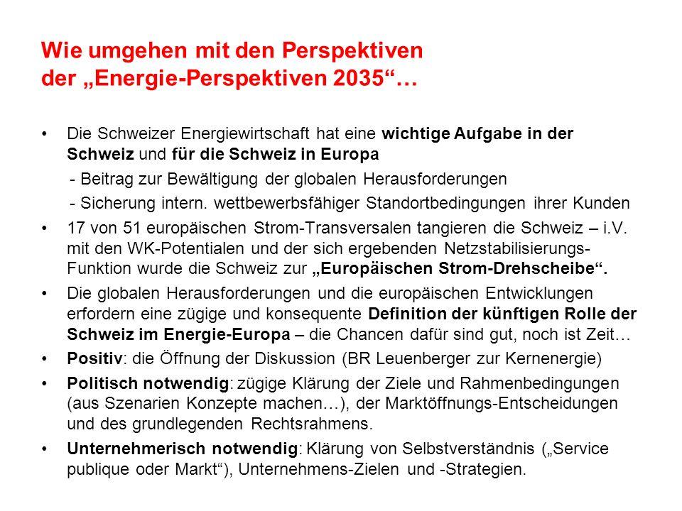 Wie umgehen mit den Perspektiven der Energie-Perspektiven 2035… Die Schweizer Energiewirtschaft hat eine wichtige Aufgabe in der Schweiz und für die S