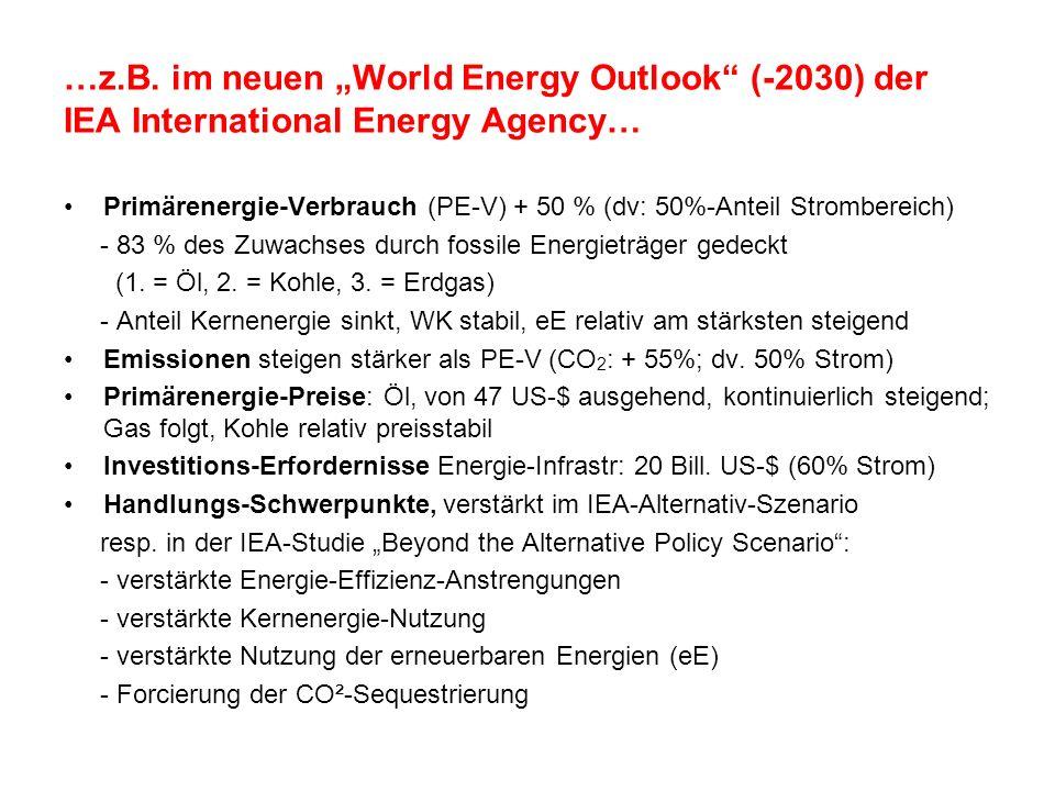 …z.B. im neuen World Energy Outlook (-2030) der IEA International Energy Agency… Primärenergie-Verbrauch (PE-V) + 50 % (dv: 50%-Anteil Strombereich) -