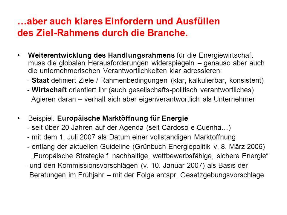…aber auch klares Einfordern und Ausfüllen des Ziel-Rahmens durch die Branche. Weiterentwicklung des Handlungsrahmens für die Energiewirtschaft muss d