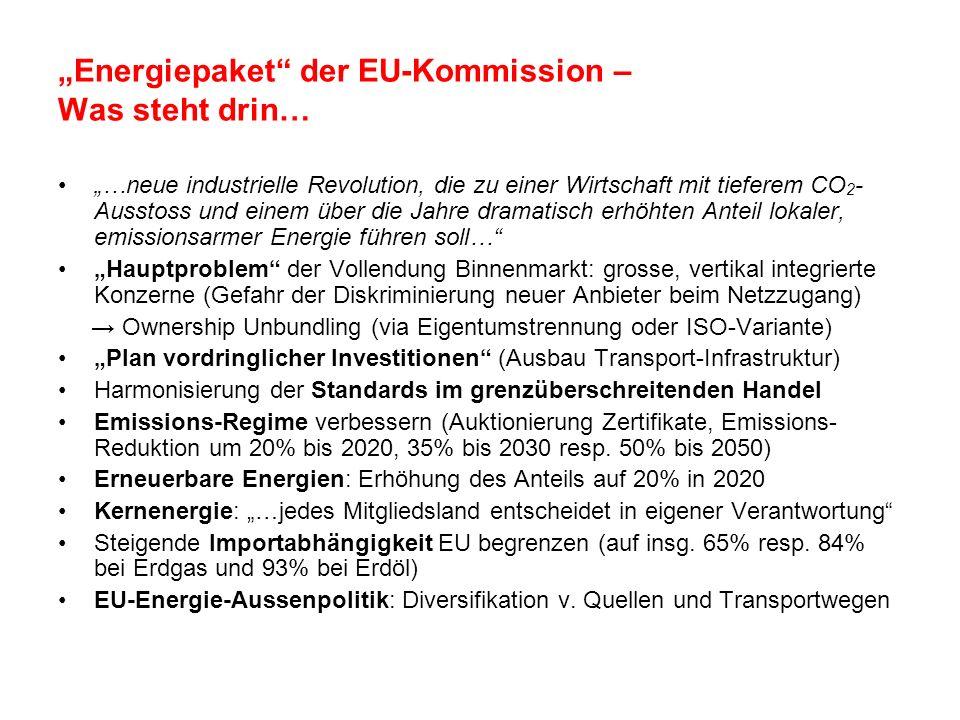 Energiepaket der EU-Kommission – Was steht drin… …neue industrielle Revolution, die zu einer Wirtschaft mit tieferem CO 2 - Ausstoss und einem über di
