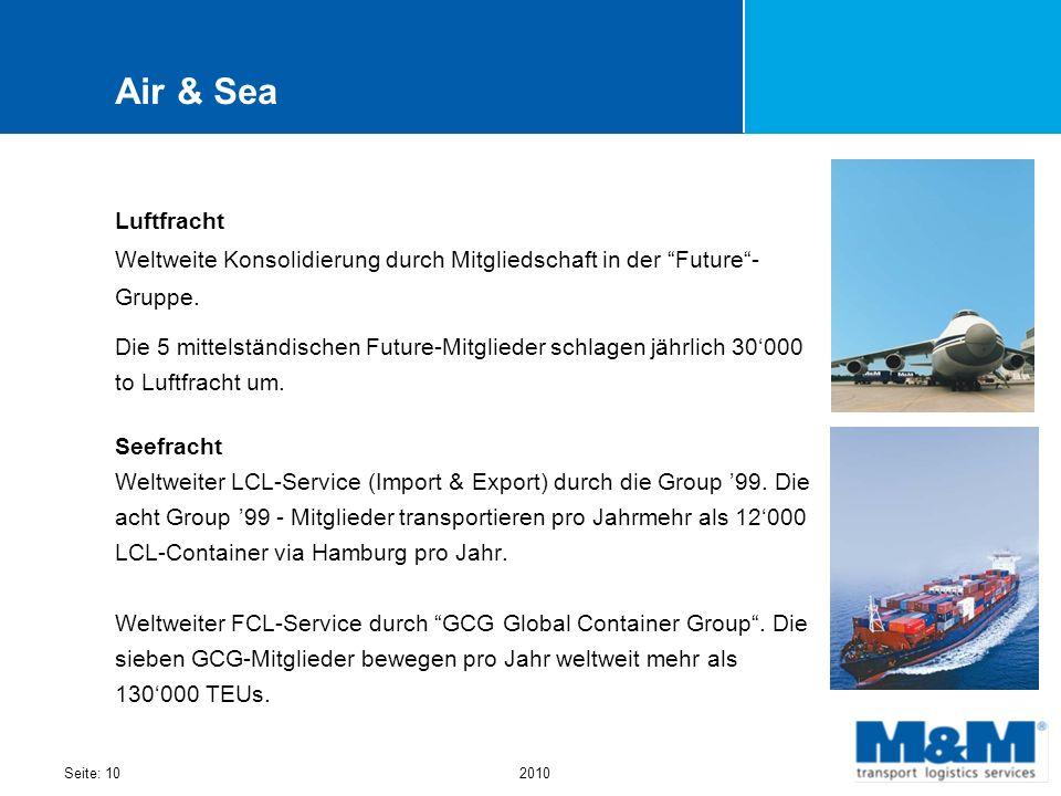 Seite: 102010 Air & Sea Luftfracht Weltweite Konsolidierung durch Mitgliedschaft in der Future- Gruppe. Die 5 mittelständischen Future-Mitglieder schl