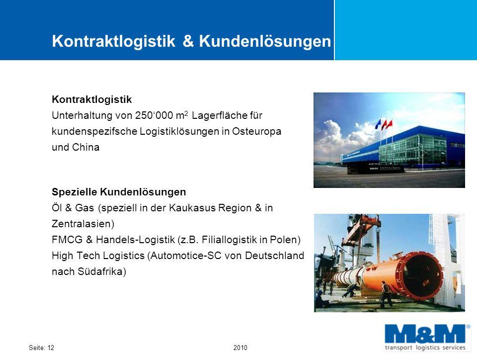 Seite: 122010 Kontraktlogistik & Kundenlösungen Kontraktlogistik Unterhaltung von 250000 m 2 Lagerfläche für kundenspezifsche Logistiklösungen in Oste