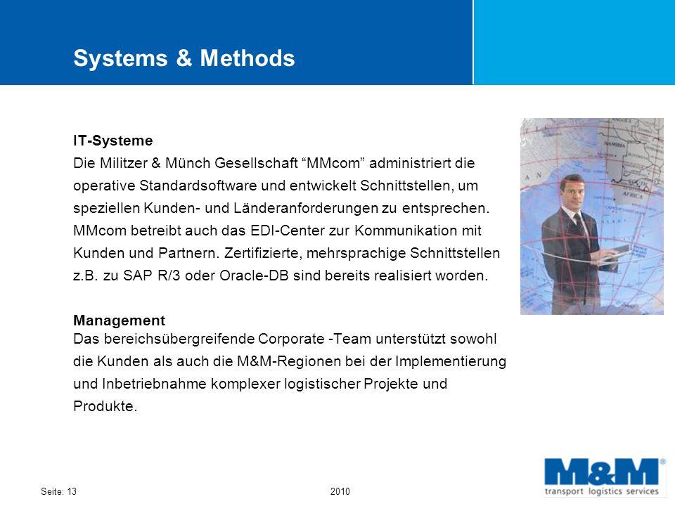 Seite: 132010 Systems & Methods IT-Systeme Die Militzer & Münch Gesellschaft MMcom administriert die operative Standardsoftware und entwickelt Schnitt