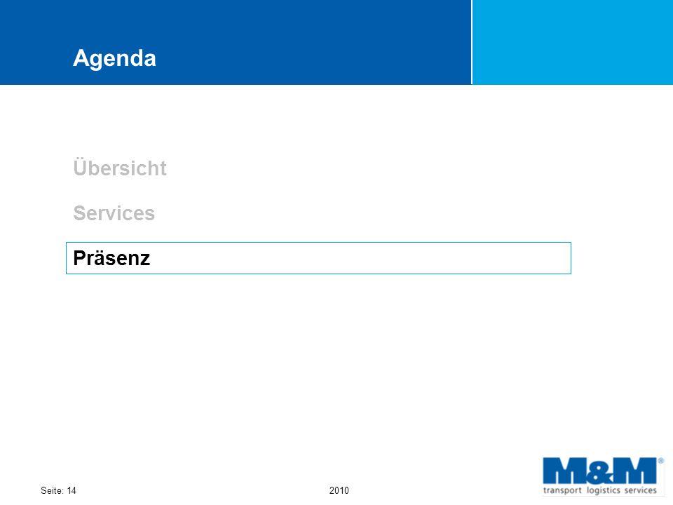 Seite: 142010 Agenda Übersicht Services Präsenz