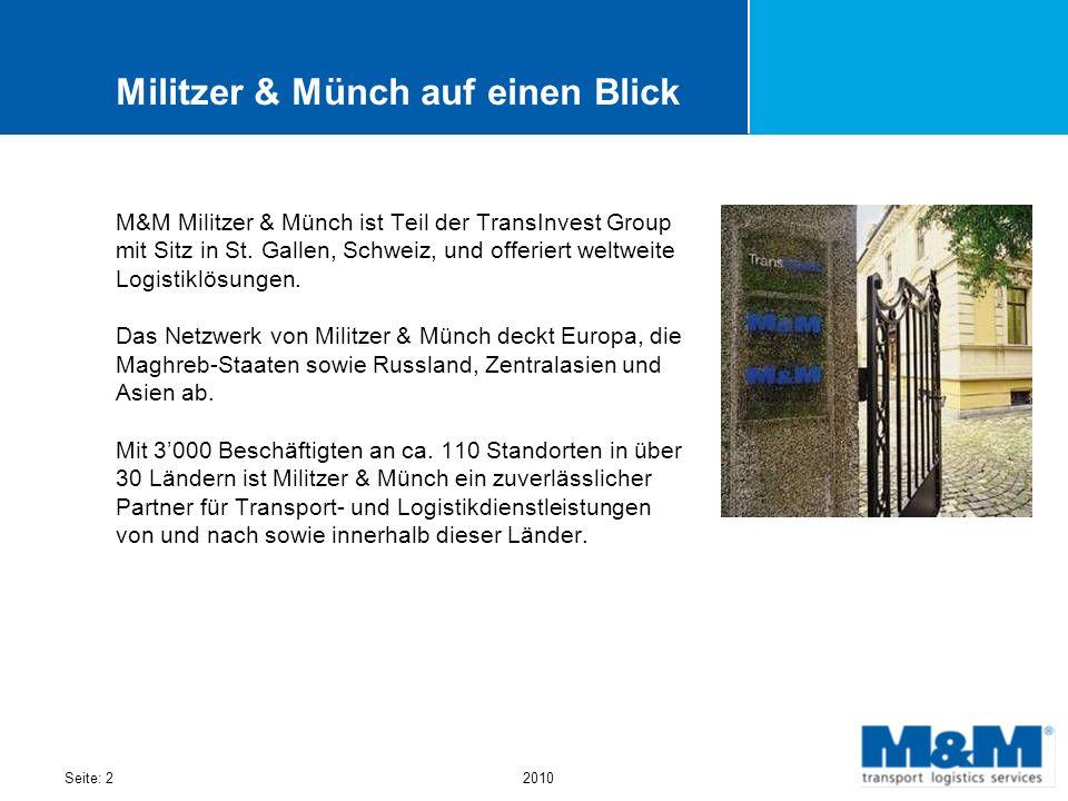 Seite: 22010 Militzer & Münch auf einen Blick M&M Militzer & Münch ist Teil der TransInvest Group mit Sitz in St. Gallen, Schweiz, und offeriert weltw