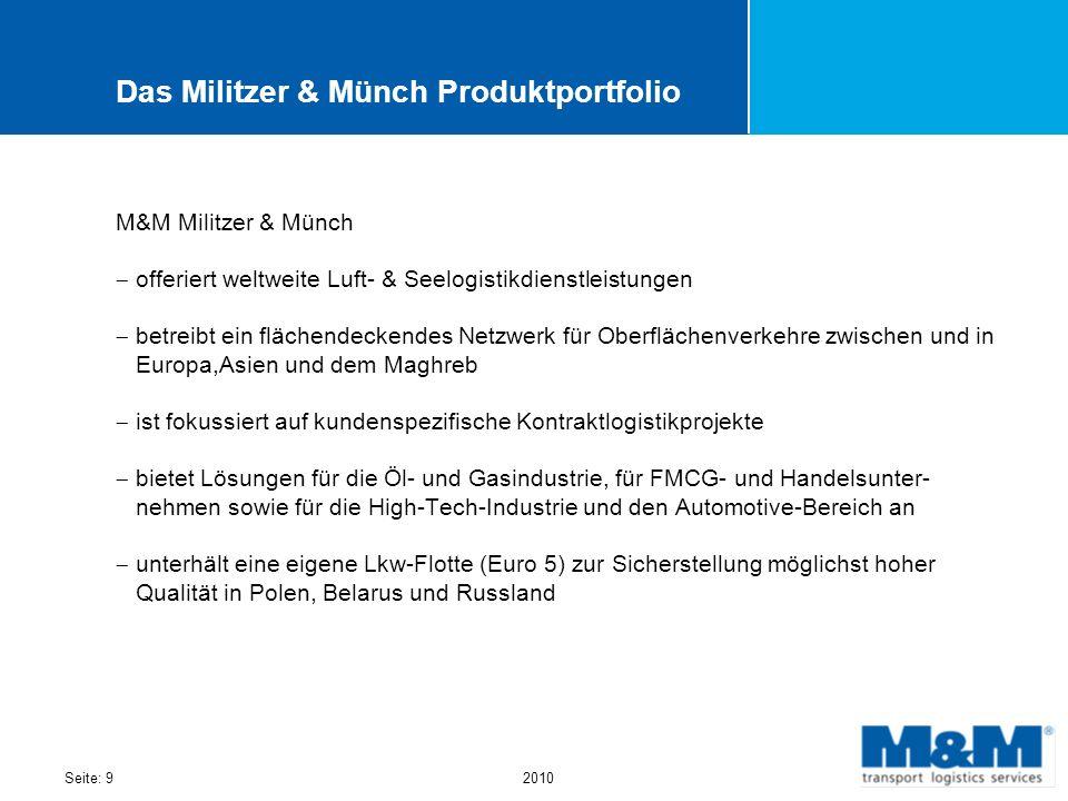 Seite: 92010 Das Militzer & Münch Produktportfolio M&M Militzer & Münch offeriert weltweite Luft- & Seelogistikdienstleistungen betreibt ein flächende