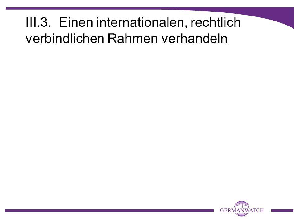 III.3. Einen internationalen, rechtlich verbindlichen Rahmen verhandeln