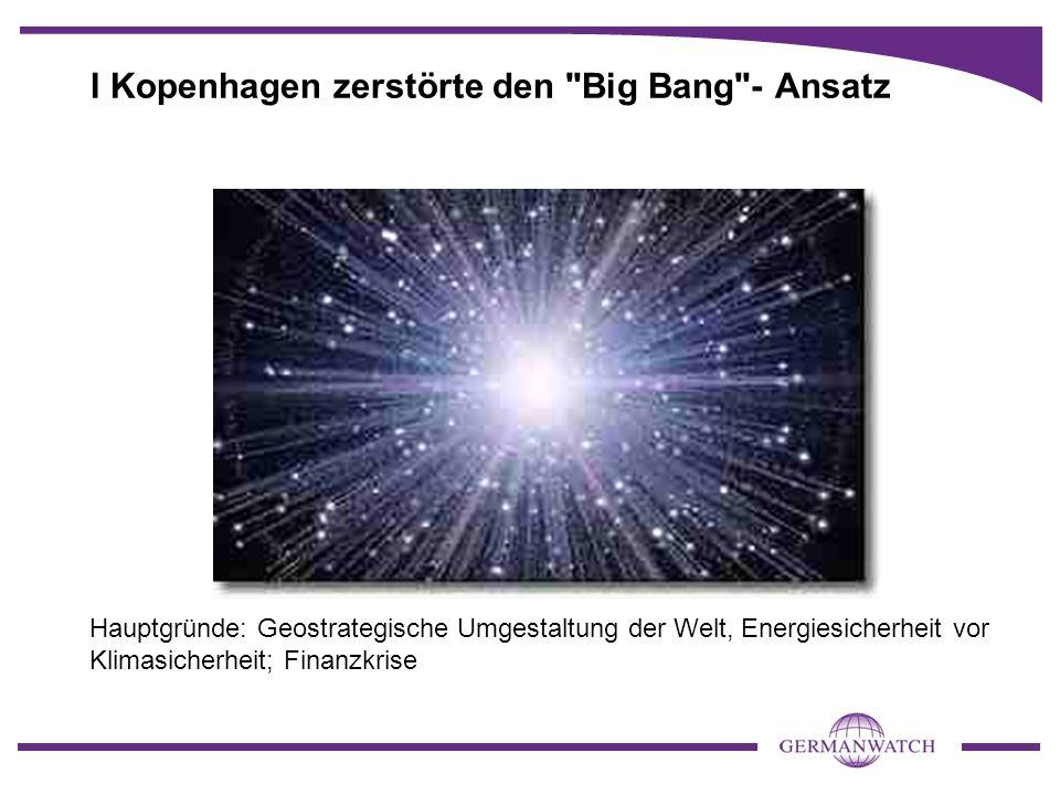 I Kopenhagen zerstörte den Big Bang - Ansatz Hauptgründe: Geostrategische Umgestaltung der Welt, Energiesicherheit vor Klimasicherheit; Finanzkrise