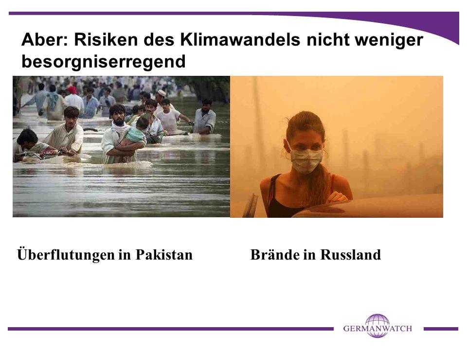 Aber: Risiken des Klimawandels nicht weniger besorgniserregend Überflutungen in PakistanBrände in Russland