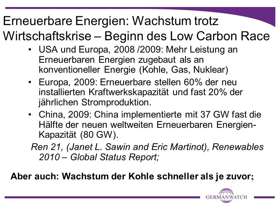 Erneuerbare Energien: Wachstum trotz Wirtschaftskrise – Beginn des Low Carbon Race USA und Europa, 2008 /2009: Mehr Leistung an Erneuerbaren Energien zugebaut als an konventioneller Energie (Kohle, Gas, Nuklear) Europa, 2009: Erneuerbare stellen 60% der neu installierten Kraftwerkskapazität und fast 20% der jährlichen Stromproduktion.
