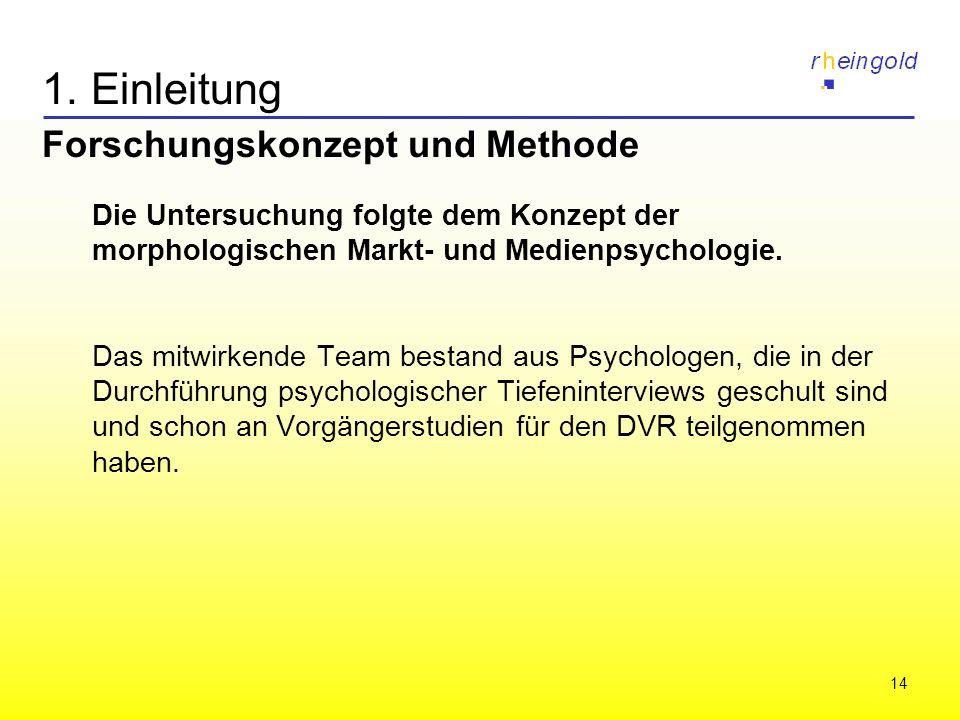 14 1. Einleitung Forschungskonzept und Methode Die Untersuchung folgte dem Konzept der morphologischen Markt- und Medienpsychologie. Das mitwirkende T