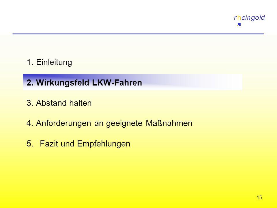 15 1. Einleitung 2. Wirkungsfeld LKW-Fahren 3. Abstand halten 4. Anforderungen an geeignete Maßnahmen 5.Fazit und Empfehlungen