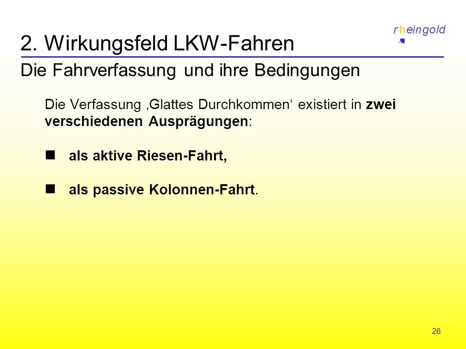 26 2. Wirkungsfeld LKW-Fahren Die Fahrverfassung und ihre Bedingungen Die Verfassung Glattes Durchkommen existiert in zwei verschiedenen Ausprägungen: