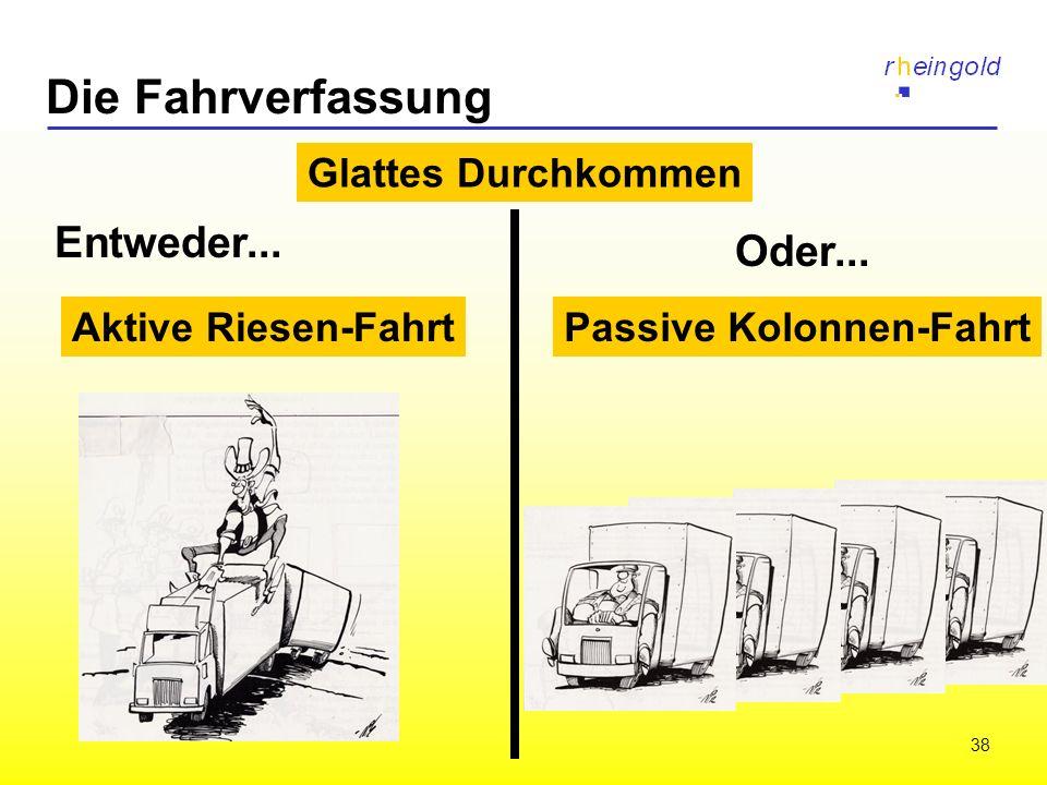 38 Die Fahrverfassung Aktive Riesen-FahrtPassive Kolonnen-Fahrt Glattes Durchkommen Entweder... Oder...