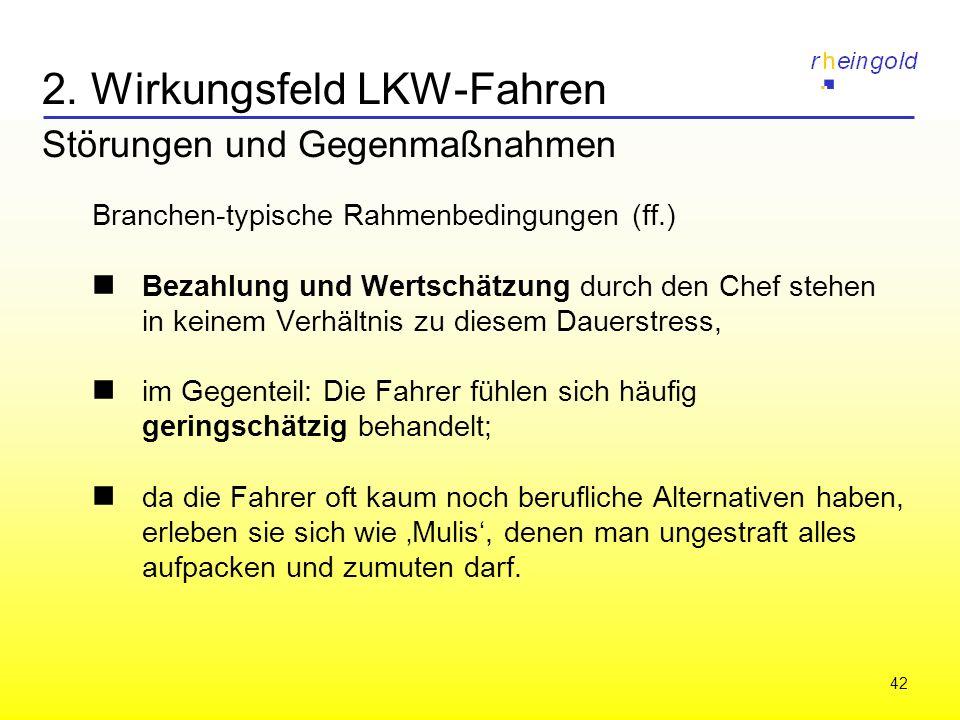 42 2. Wirkungsfeld LKW-Fahren Störungen und Gegenmaßnahmen Branchen-typische Rahmenbedingungen (ff.) Bezahlung und Wertschätzung durch den Chef stehen
