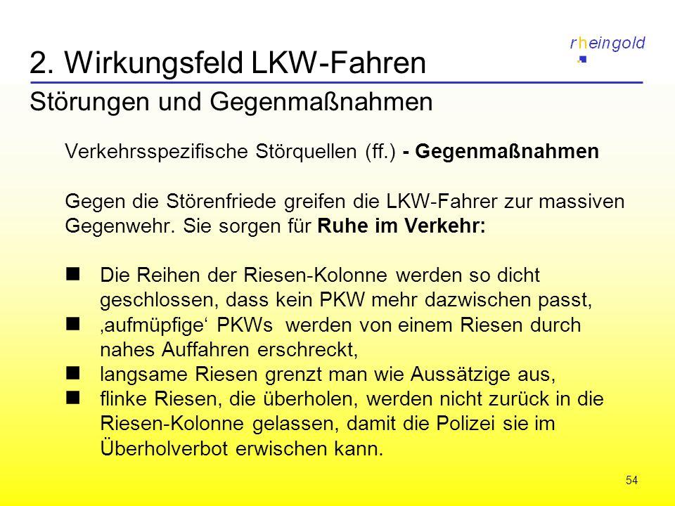 54 2. Wirkungsfeld LKW-Fahren Störungen und Gegenmaßnahmen Verkehrsspezifische Störquellen (ff.) - Gegenmaßnahmen Gegen die Störenfriede greifen die L