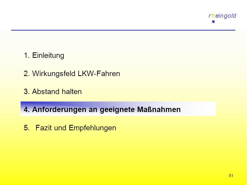 81 1. Einleitung 2. Wirkungsfeld LKW-Fahren 3. Abstand halten 4. Anforderungen an geeignete Maßnahmen 5.Fazit und Empfehlungen
